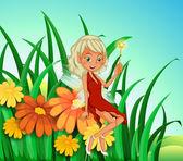 A garden at the hilltop with a fairy — Stock Vector