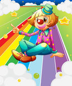 A female clown sitting at the colorful road — Stock Vector