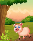 A smiling pig under the tree — Stock Vector
