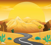 A winding road at the desert — Stock Vector