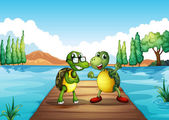 Two turtles standing at the diving board — Stock Vector