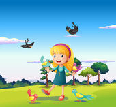 A girl surrounded by birds at the hill — Stock Vector