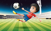 A young football player with a red uniform — Stock Vector