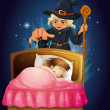 A girl sleeping with a witch at the back — Stock Vector