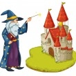 A wizard holding a book and a magic wand in front of the castle — Stock Vector