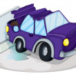 A violet car bumping the traffic cone — Stock vektor