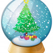 A crystal ball with a Christmas tree — Stock vektor