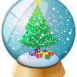 A crystal ball with a Christmas tree — Stock Vector