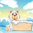 A bear holding an empty wooden board at the snowy mountain — Stok Vektör