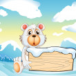 A bear holding an empty wooden board at the snowy mountain — Stock vektor