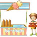 A boy with a tray beside an ice cream cart — Stock Vector