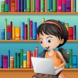 A girl with a laptop in front of the wooden shelves — Stock Vector