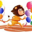 A lion running with colorful balloons — Stock Vector