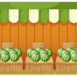 A shop of watermelons with empty boards — Stock Vector