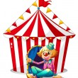 A clown sitting in front of a red circus tent — Stock Vector
