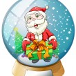 A crystal ball with Santa Claus inside — Stock Vector