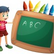 A boy holding the blackboard with crayons at the back — Stock Vector