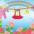 Baby clothes hanging in the garden — Stock Vector
