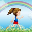 A girl running with a rainbow in the sky — Stock Vector