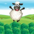 A sheep above the hill with a farm — Imagens vectoriais em stock