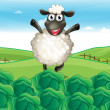 A sheep above the hill with a farm — Imagen vectorial