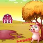 un cochon pointant vers l'étable de la ferme d'élevage porcin — Vecteur