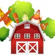 A barn with a chicken and fruits at the back  — Stock Vector