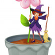 A pot with a flower and a witch at the top — Stock Vector