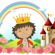 Royalty-Free Stock Vector Image: A king in front of a castle