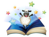 A book with an image of a happy sheep with stars — Stock Vector