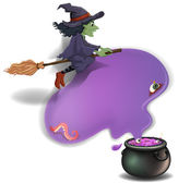 A witch riding on a broom with a pot — Stock Vector