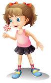 A cute little girl holding a lollipop — Stock Vector