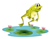 A jumping frog at the pond — Stock Vector