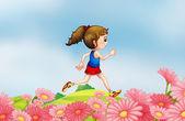 A girl running along the hill with a garden — Stock Vector