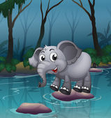 An elephant crossing the river by means of the big stones — Stock Vector