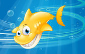 A smiling yellow shark at the sea — Stock Vector