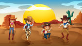 Cowboys and a cowgirl at the desert — Stock Vector