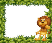 A green leafy frame with a lion — Stock Vector