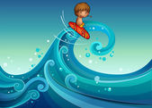 A young boy surfing — Stock Vector
