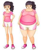 Two opposite ladies wearing pink — Stock Vector