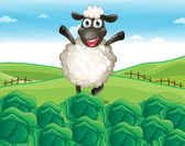 A sheep above the hill with a farm — Stock Vector