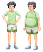 Two boys with same shirt but of different body sizes — Stock Vector