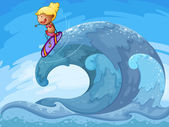 A young girl surfing — Stock Vector