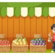 A fruit shop with a young boy wearing a red shirt — Stock Vector #26545117