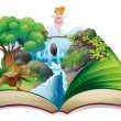 An open book with an image of a fairy land  — Stock Vector