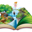 Stock Vector: An open book with an image of a fairy land