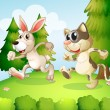 A bunny and a cat running above the hill — Stock Vector
