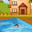 Royalty-Free Stock Vector Image: A kid swimming at the pool