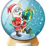 Santa Claus holding a gift inside the snow ball — Stock Vector