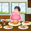 A fat lady in front of a table full of foods — Stock Vector